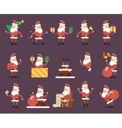 Santa Claus Cartoon Characters Poses Christmas New vector image