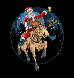 santa claus riding a christmas reindeer and singin vector image