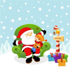 Santa With Kid vector image
