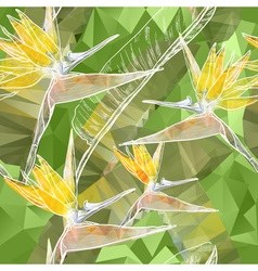 Seamless Floral Background with Bird of Paradise vector image