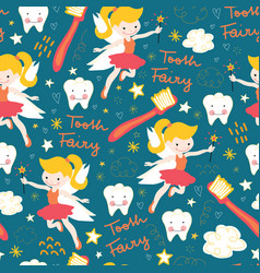 Seamless pattern tooth fairy cute fairies vector