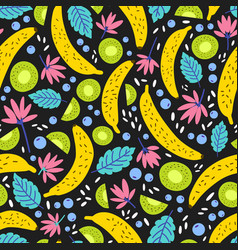 seamless pattern with exotic blooming flowers and vector image