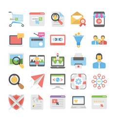 Seo and digital marketing colored icons 7 vector