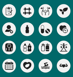 Set of 16 editable sport icons includes symbols vector