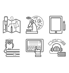 set of flat design outline icons education vector image vector image
