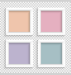 Set of realistic square empty picture frames vector