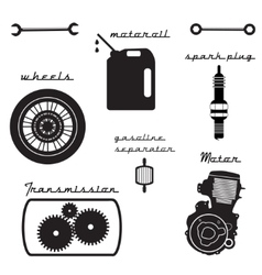 Set vintage parts for bike vector