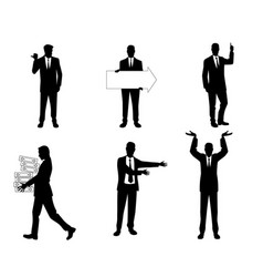six businessmen silhouette vector image