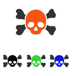 skull and bones flat icon vector image