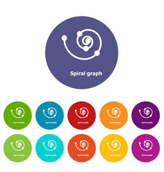 Spiral graph icons set color vector