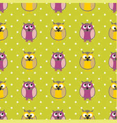tile pattern with owls and polka dots on green bac vector image