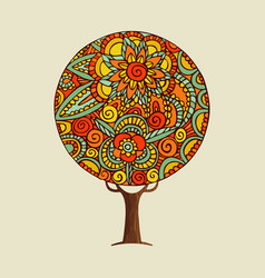 Tree with ethnic indian style flower mandala art vector