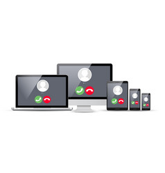 voip voice over ip smartphone laptop vector image