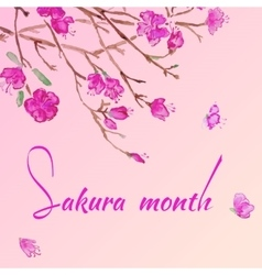 Watercolor purple sakura flowers invitation vector