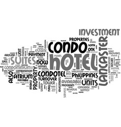 What is a condotel text word cloud concept vector
