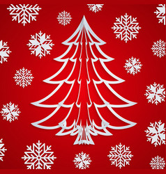 white paper christmas tree on red vector image