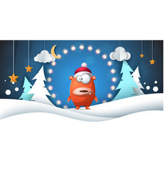 winter landscape funny cute bear moon cloud vector image