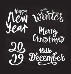 winter set on blackboard vector image