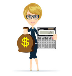Woman holding a money bag and electronic vector