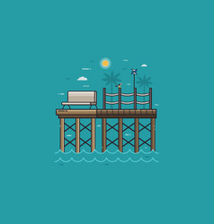 wooden jetty or sea pier on seaside vector image