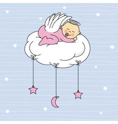 baby girl sleeping on a cloud vector image vector image