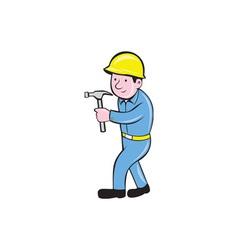 Carpenter Builder Hammer Walking Cartoon vector image vector image