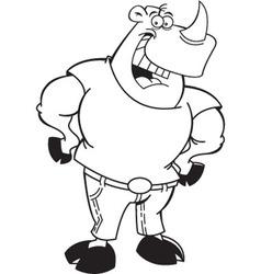 Cartoon rhino wearing jeans vector