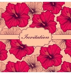 colorful hand drawn floral invitation card vector image vector image