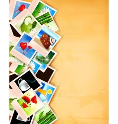 Colorful photos on old paper background vector image vector image