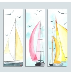 Flyers with watercolor sailboats vector image vector image