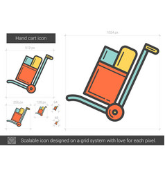 Hand cart line icon vector