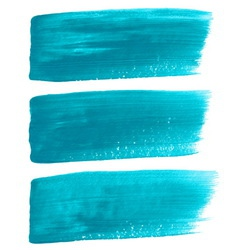 Turquoise ink brush strokes vector image