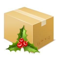 Christmas box icon Mistletoe vector image vector image
