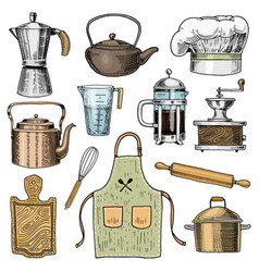 coffee maker or grinder french press rolling pin vector image vector image