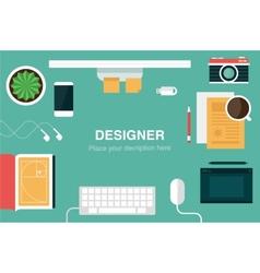 designer desk header vector image vector image
