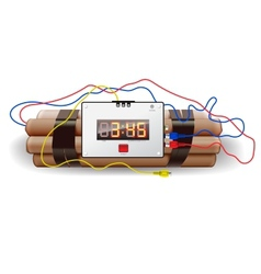 Explosives with alarm clock isolated on white vector image