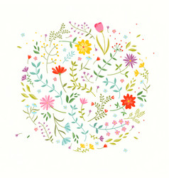 floral design element greeting card with cute vector image