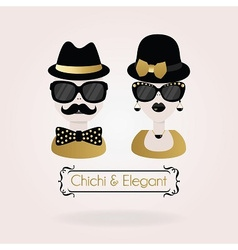 hipster black and golden male and fenale icon vector image