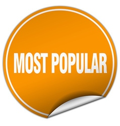 most popular round orange sticker isolated on vector image vector image