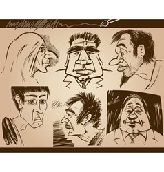people faces cartoon sketch drawings set vector image