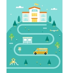 School Bus Taking Kids to School Rural Landscape vector image vector image