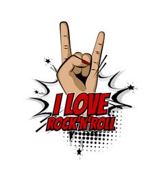 woman metal hand wow rock pop art cartoon vector image vector image
