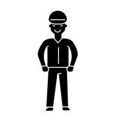 worker icon black sign on vector image vector image