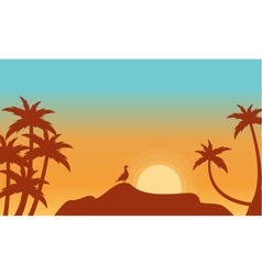 At sunrise bird on rock scenery silhouettes vector image