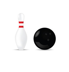 Bowling ball in black color and skittle vector