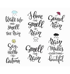 Rain Autumn Days quotes typography set vector image vector image
