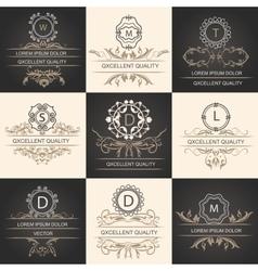 Set leaflets ornamental logos vector image