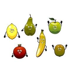 Set of happy fresh cartoon fruits vector image vector image