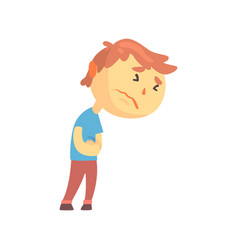 unhappy boy character suffering from abdominal vector image