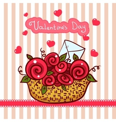Basket with red roses flowers Valentines day vector image vector image